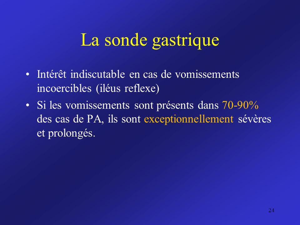La sonde gastrique Intérêt indiscutable en cas de vomissements incoercibles (iléus reflexe) Si les vomissements sont présents dans 70-90% des cas de P