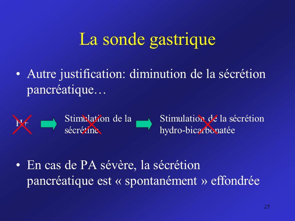 La sonde gastrique Autre justification: diminution de la sécrétion pancréatique… En cas de PA sévère, la sécrétion pancréatique est « spontanément » e