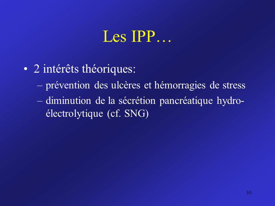 Les IPP… 2 intérêts théoriques: –prévention des ulcères et hémorragies de stress –diminution de la sécrétion pancréatique hydro- électrolytique (cf. S