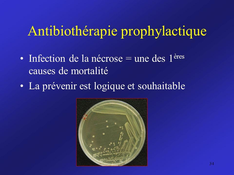 Antibiothérapie prophylactique Infection de la nécrose = une des 1 ères causes de mortalité La prévenir est logique et souhaitable 34