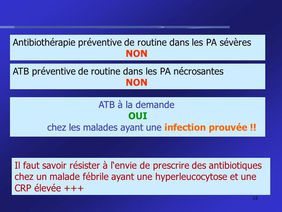 Antibiothérapie préventive de routine dans les PA sévères NON ATB préventive de routine dans les PA nécrosantes NON ATB à la demande OUI chez les mala