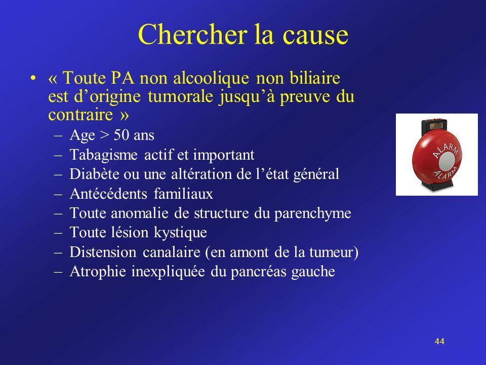 Chercher la cause « Toute PA non alcoolique non biliaire est dorigine tumorale jusquà preuve du contraire » –Age > 50 ans –Tabagisme actif et importan