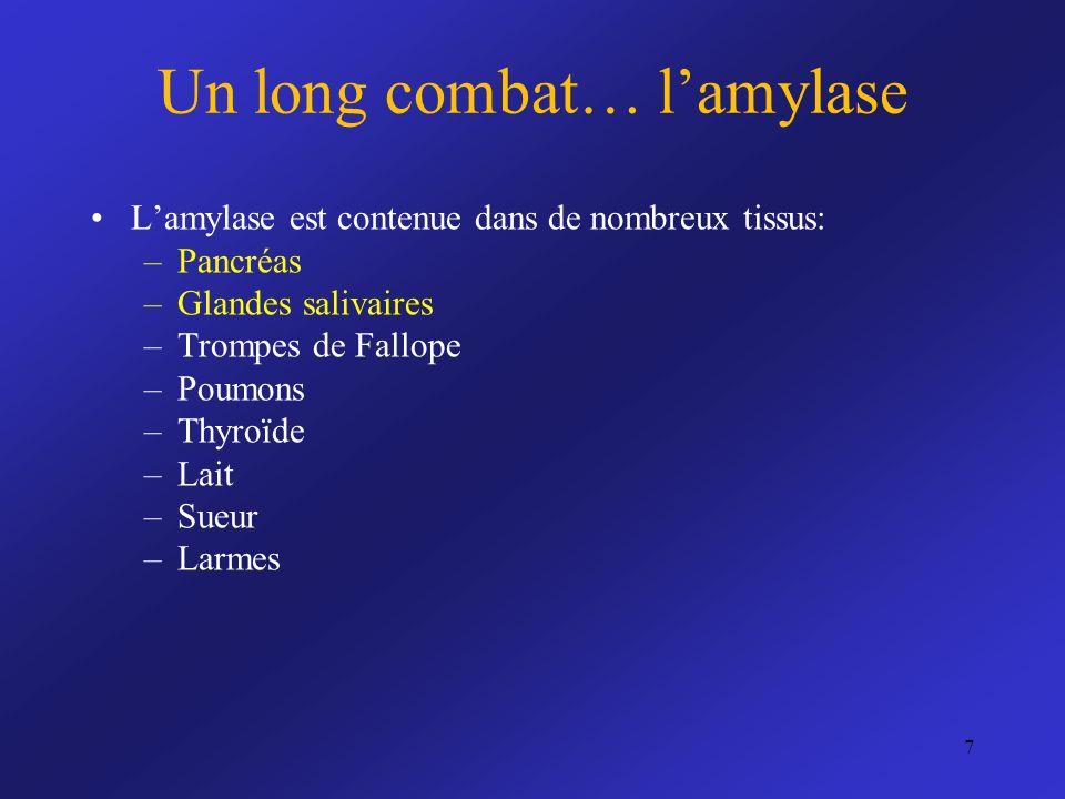 Lamylase est contenue dans de nombreux tissus: –Pancréas –Glandes salivaires –Trompes de Fallope –Poumons –Thyroïde –Lait –Sueur –Larmes Un long comba
