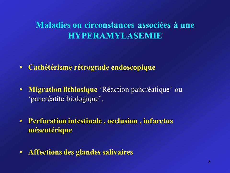 Maladies ou circonstances associées à une HYPERAMYLASEMIE Alcoolisme chronique Acidose métabolique, acidose lactique Acido-cétose Affections gynécologiques : GEU rompue, salpingites, kystes ovariens.