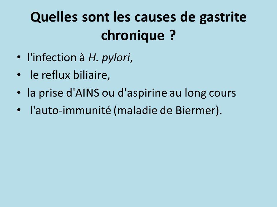 Quelles sont les causes de gastrite chronique ? l'infection à H. pylori, le reflux biliaire, la prise d'AINS ou d'aspirine au long cours l'auto-immuni