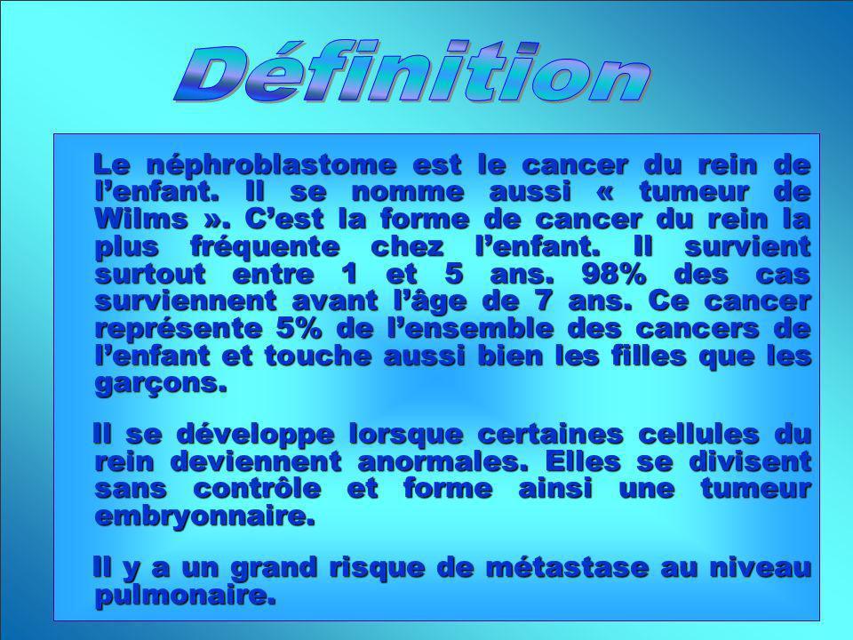 Le néphroblastome est le cancer du rein de lenfant. Il se nomme aussi « tumeur de Wilms ». Cest la forme de cancer du rein la plus fréquente chez lenf