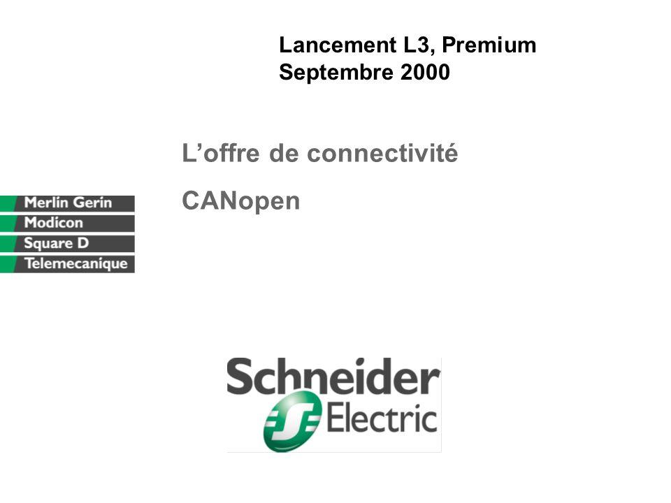 DCF/DMPII-A.L-16/07/00-CANOPEN fr.ppt 1212 CANopen : interface utilisateur PL7 Mode connecté Écrans de mise au point standards Vue dynamique des équipements et variables associées (dans le mode PL7 vers CPP seulement) Possibilité d envoyer des SDO (paramètres)