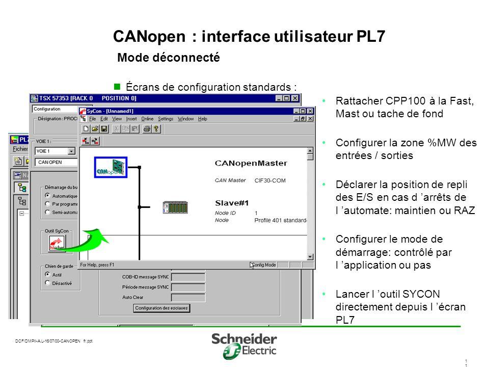 DCF/DMPII-A.L-16/07/00-CANOPEN fr.ppt 1 CANopen : interface utilisateur PL7 Mode déconnecté Écrans de configuration standards : Rattacher CPP100 à la Fast, Mast ou tache de fond Configurer la zone %MW des entrées / sorties Déclarer la position de repli des E/S en cas d arrêts de l automate: maintien ou RAZ Configurer le mode de démarrage: contrôlé par l application ou pas Lancer l outil SYCON directement depuis l écran PL7