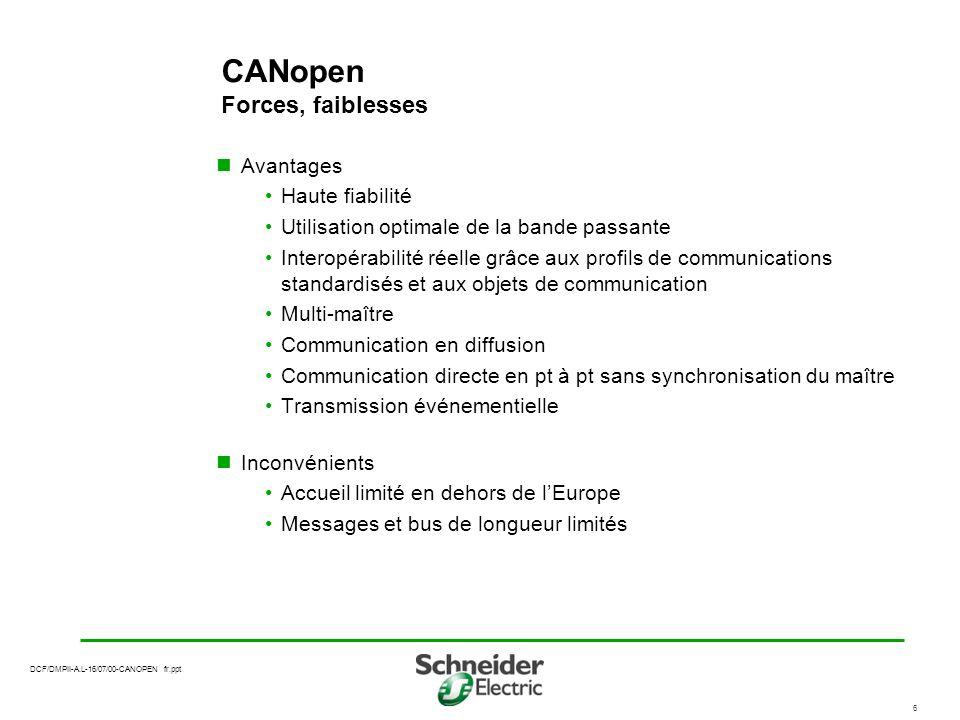 DCF/DMPII-A.L-16/07/00-CANOPEN fr.ppt 7 Pourquoi une offre de connectivité CANopen sur Premium.