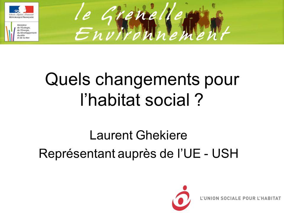 Quels changements pour lhabitat social ? Laurent Ghekiere Représentant auprès de lUE - USH