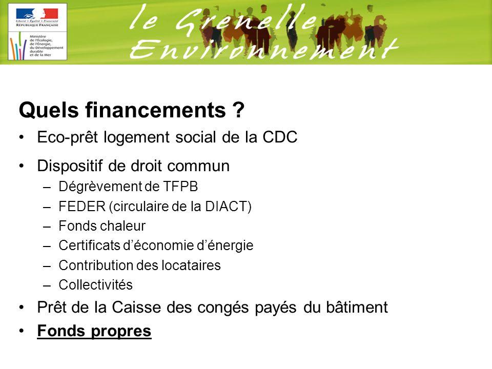 Quels financements ? Eco-prêt logement social de la CDC Dispositif de droit commun –Dégrèvement de TFPB –FEDER (circulaire de la DIACT) –Fonds chaleur