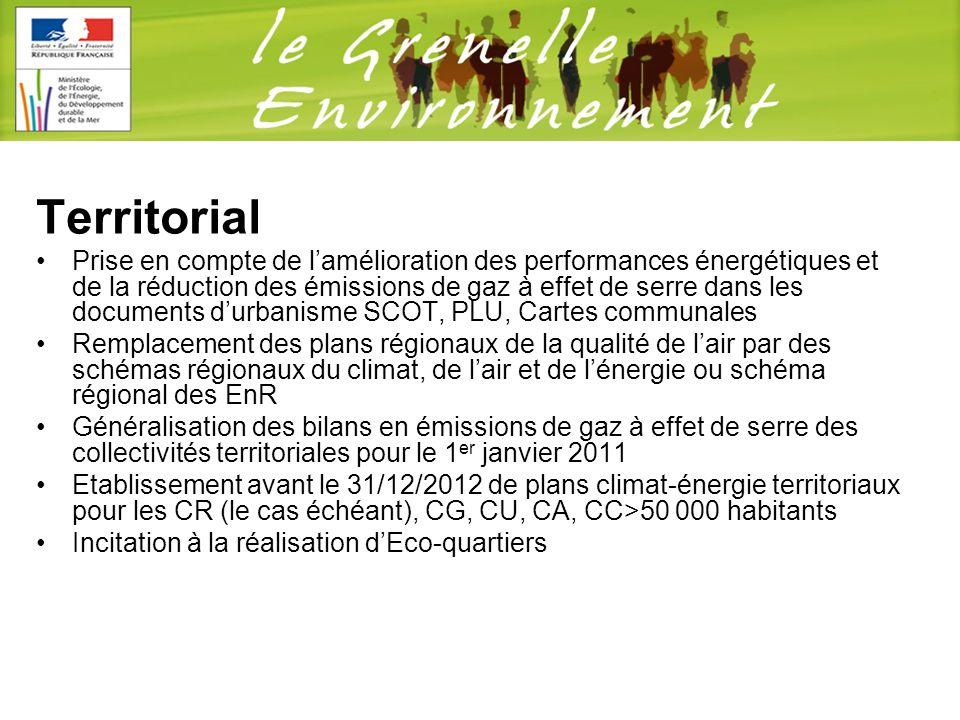 Territorial Prise en compte de lamélioration des performances énergétiques et de la réduction des émissions de gaz à effet de serre dans les documents