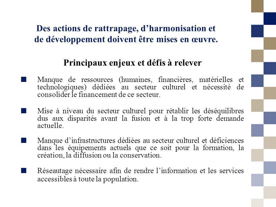 Des actions de rattrapage, dharmonisation et de développement doivent être mises en œuvre. Principaux enjeux et défis à relever Manque de ressources (