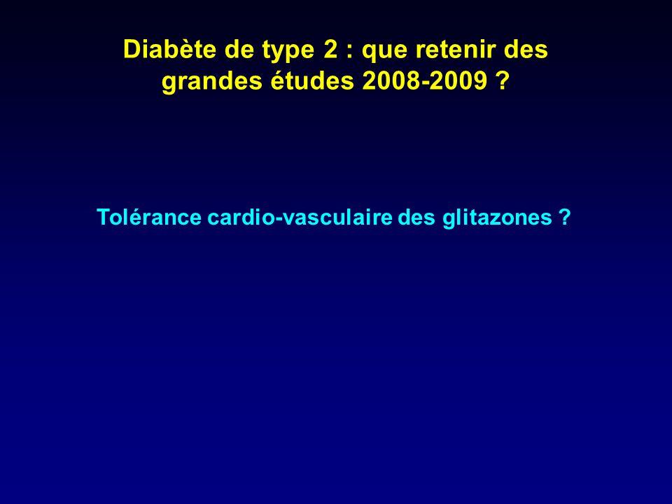 Diabète de type 2 : que retenir des grandes études 2008-2009 ? Tolérance cardio-vasculaire des glitazones ?