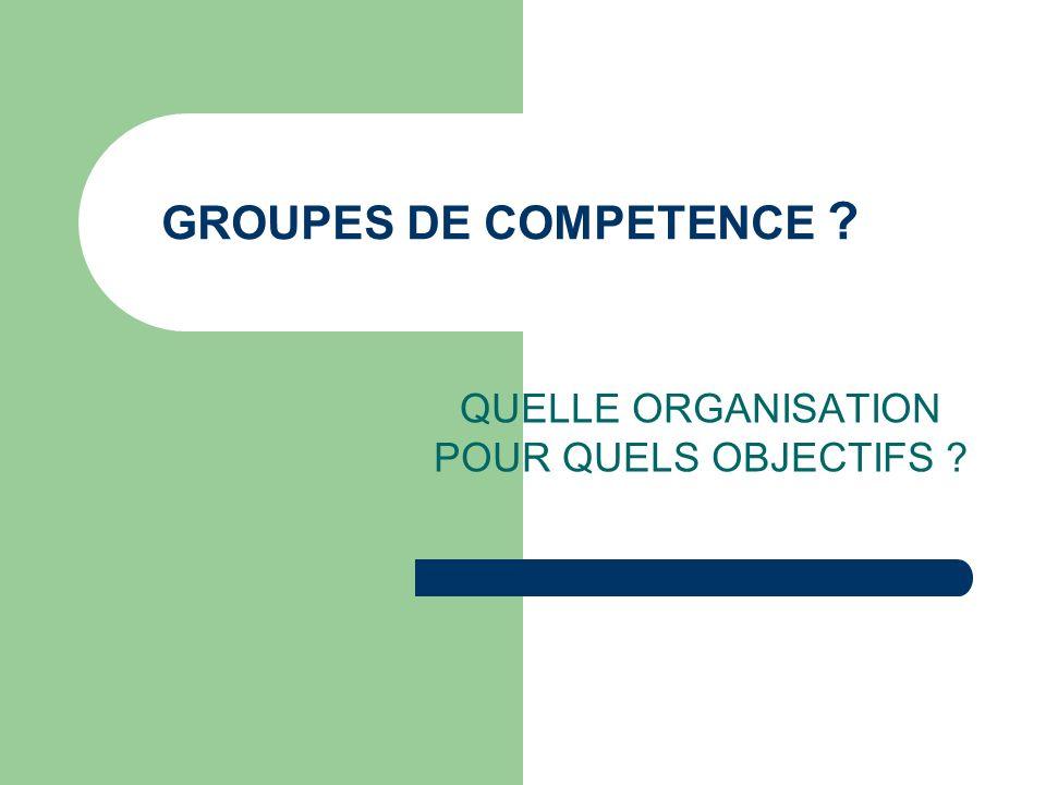 GROUPES DE COMPETENCE ? QUELLE ORGANISATION POUR QUELS OBJECTIFS ?