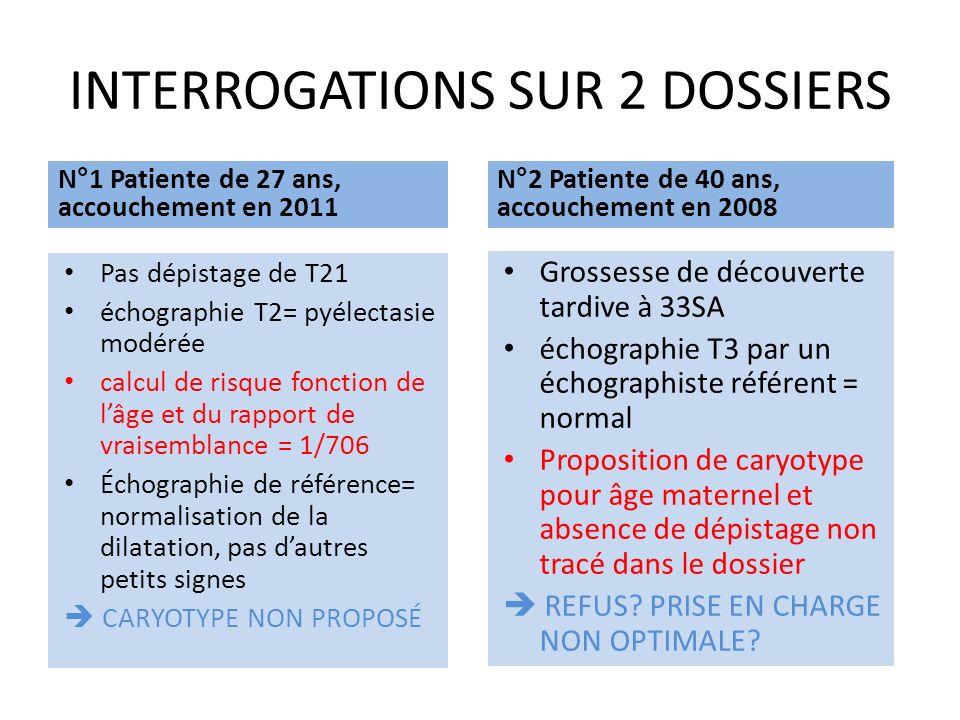 INTERROGATIONS SUR 2 DOSSIERS N°1 Patiente de 27 ans, accouchement en 2011 Pas dépistage de T21 échographie T2= pyélectasie modérée calcul de risque f
