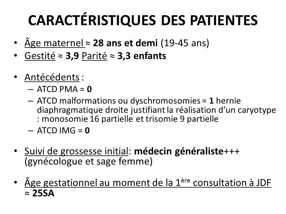 CARACTÉRISTIQUES DES PATIENTES Âge maternel 28 ans et demi (19-45 ans) Gestité 3,9 Parité 3,3 enfants Antécédents : – ATCD PMA = 0 – ATCD malformation