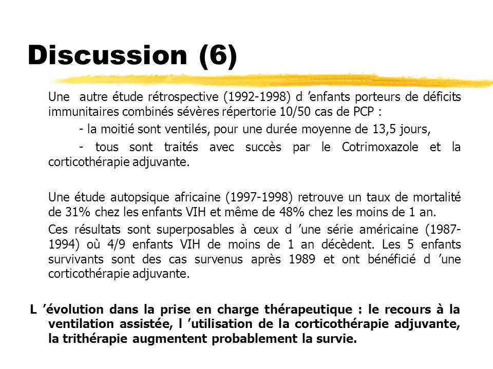 Discussion (7) Corticothérapie adjuvante : 6/10 ont bénéficié d une corticottt adjuvante sans que l on puisse évaluer un bénéfice réel sur l évolution à court ou moyen terme : pas de diminution du nombre d intubation MAIS diminution des durées de ventilation (3,9,14,18 j soit une moyenne de 11 jours sous corticoïdes contre 7,19,27j soit une moyenne de17,6j sans corticoïdes).