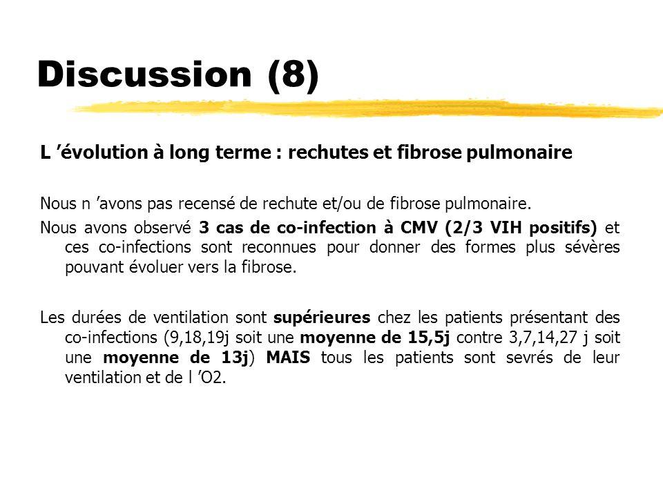 Discussion (9) Chimioprophylaxie (Cotrimoxazole) : Dans notre étude, le taux de couverture est faible : seul 1/10 reçoit une chimioprophylaxie (enfant VIH, au stade SIDA) L efficacité de la chimioprophylaxie paraît indiscutable.
