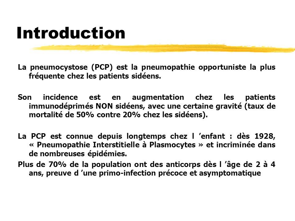 Introduction La pneumocystose (PCP) est la pneumopathie opportuniste la plus fréquente chez les patients sidéens.