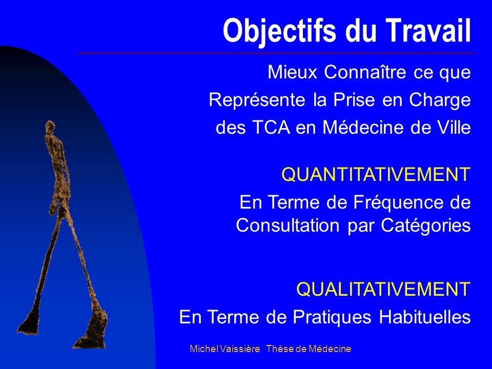 Michel Vaissière Thèse de Médecine Objectifs du Travail Mieux Connaître ce que Représente la Prise en Charge des TCA en Médecine de Ville QUANTITATIVE