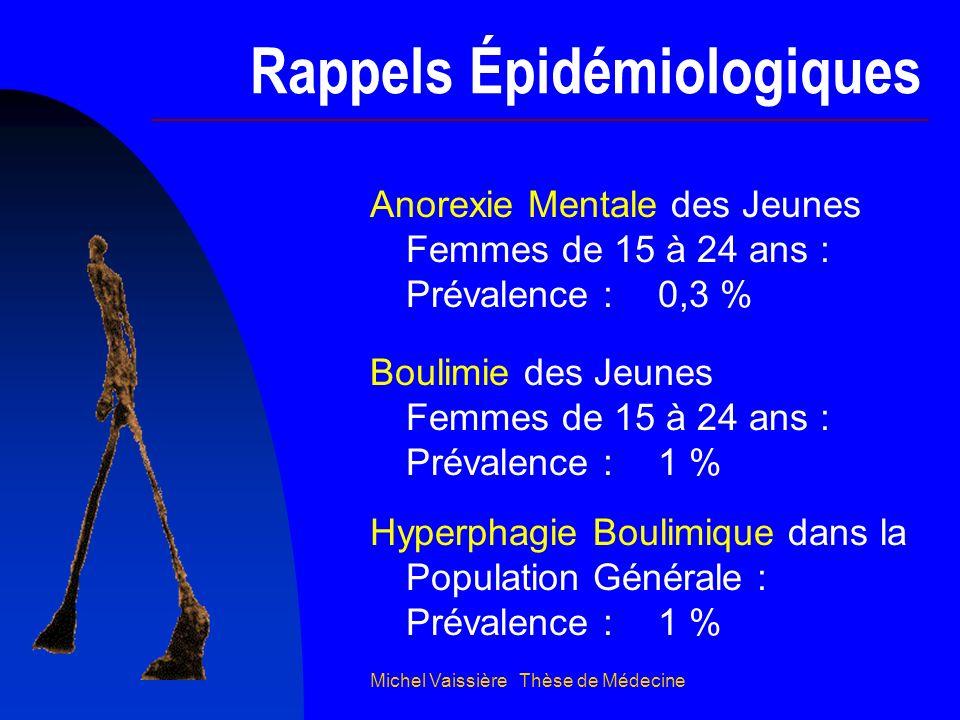 Michel Vaissière Thèse de Médecine Répartition des Plus de 35 Ans Boulimie 20 % Boulimarexie 10 % Simple Restriction 15 % Selon le TCA Usage Isolé de Toxiques 5 % Pas dAnorexique Hyperphagie Boulimique 50 %