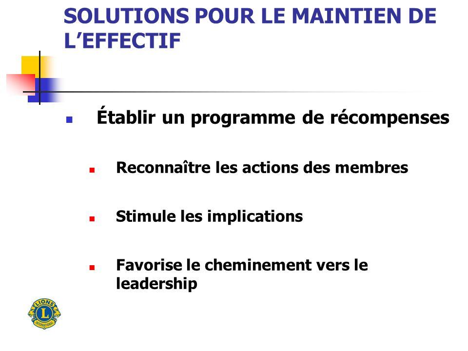 SOLUTIONS POUR LE MAINTIEN DE LEFFECTIF Établir un programme de récompenses Reconnaître les actions des membres Stimule les implications Favorise le cheminement vers le leadership