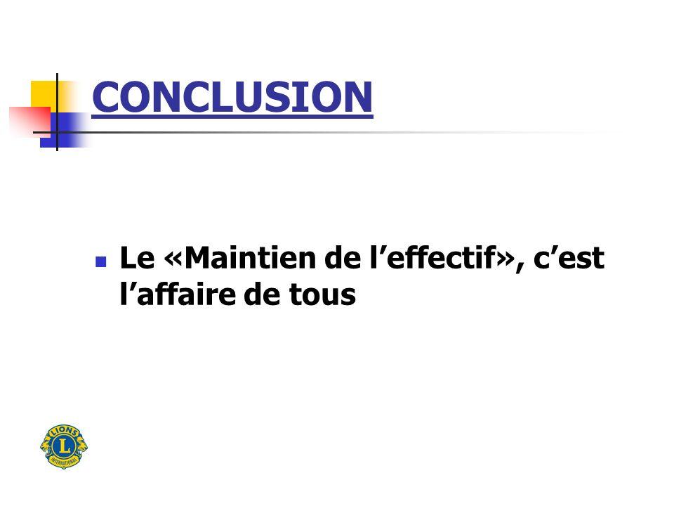 CONCLUSION Le «Maintien de leffectif», cest laffaire de tous