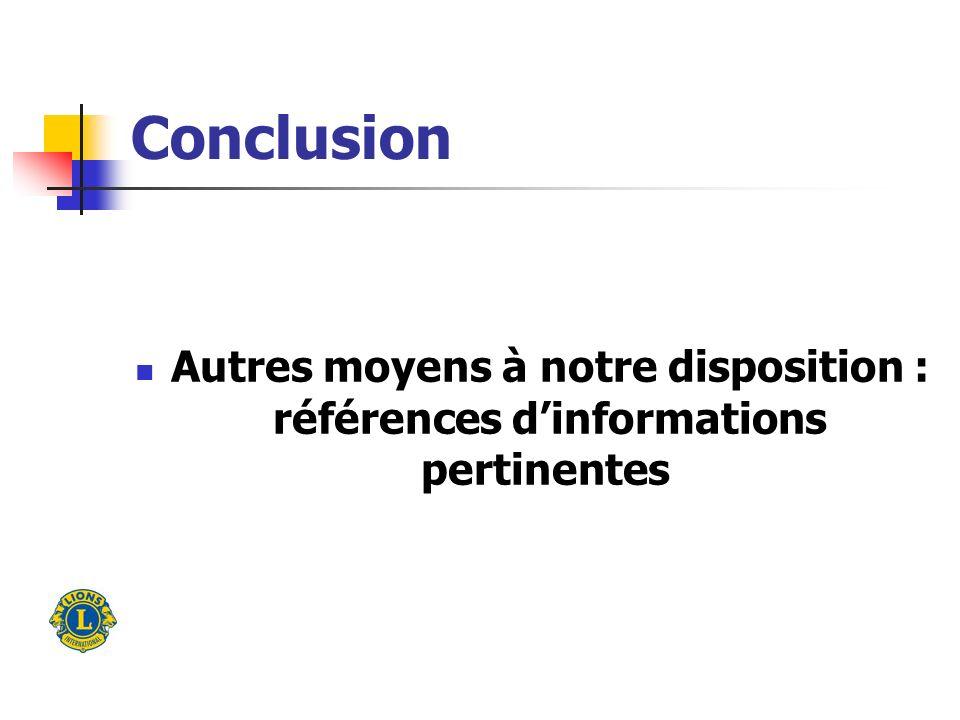 Conclusion Autres moyens à notre disposition : références dinformations pertinentes