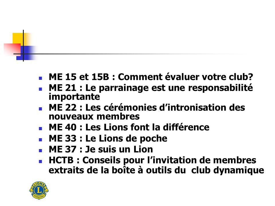 ME 15 et 15B : Comment évaluer votre club.