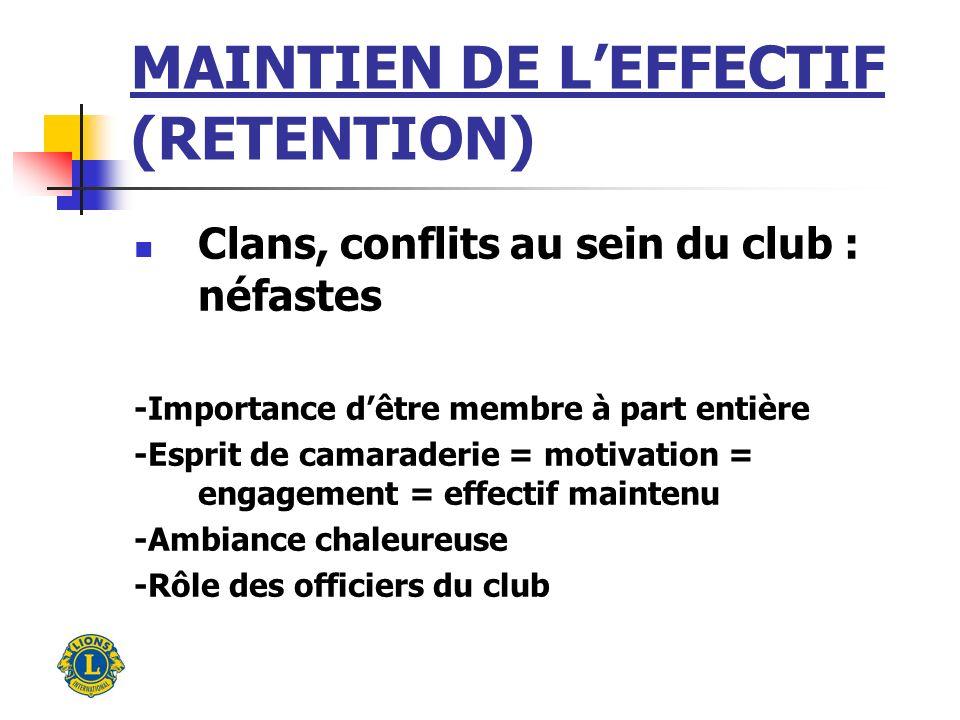 MAINTIEN DE LEFFECTIF (RETENTION) Clans, conflits au sein du club : néfastes -Importance dêtre membre à part entière -Esprit de camaraderie = motivation = engagement = effectif maintenu -Ambiance chaleureuse -Rôle des officiers du club