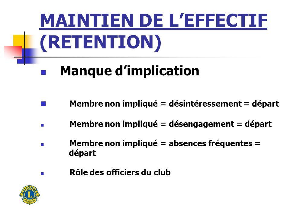 MAINTIEN DE LEFFECTIF (RETENTION) Manque de coopération et de cohésion Importance de la communication pour une saine harmonie Importance de lentraide, du travail déquipe Rôle des officiers du club