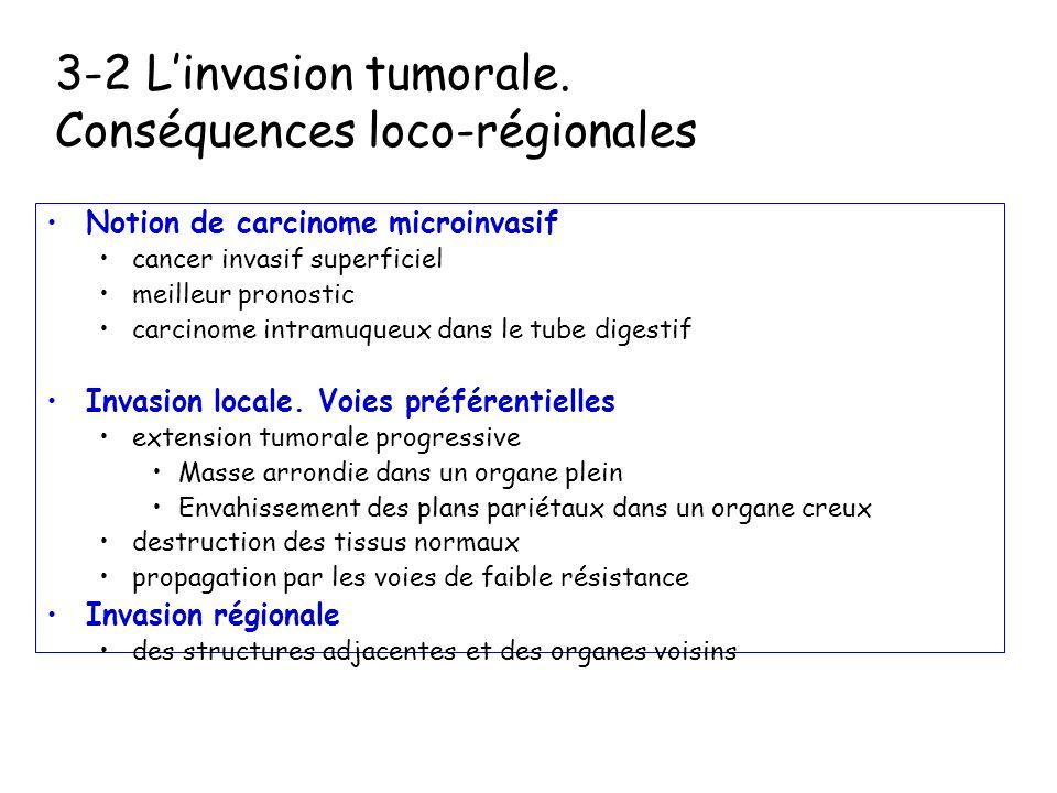 3-2 Linvasion tumorale. Mécanismes moléculaires Interaction des cellules avec la matrice extra cellulaire (MEC) Perte des jonctions intercellulaires (