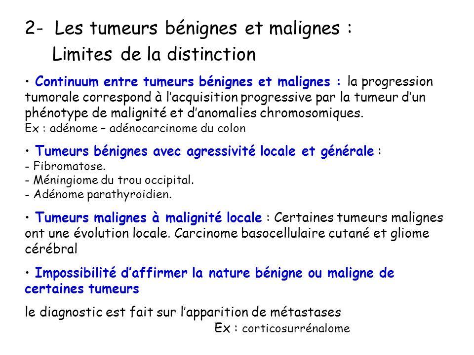 2- Les tumeurs bénignes et malignes : Limites de la distinction Continuum entre tumeurs bénignes et malignes : la progression tumorale correspond à lacquisition progressive par la tumeur dun phénotype de malignité et danomalies chromosomiques.