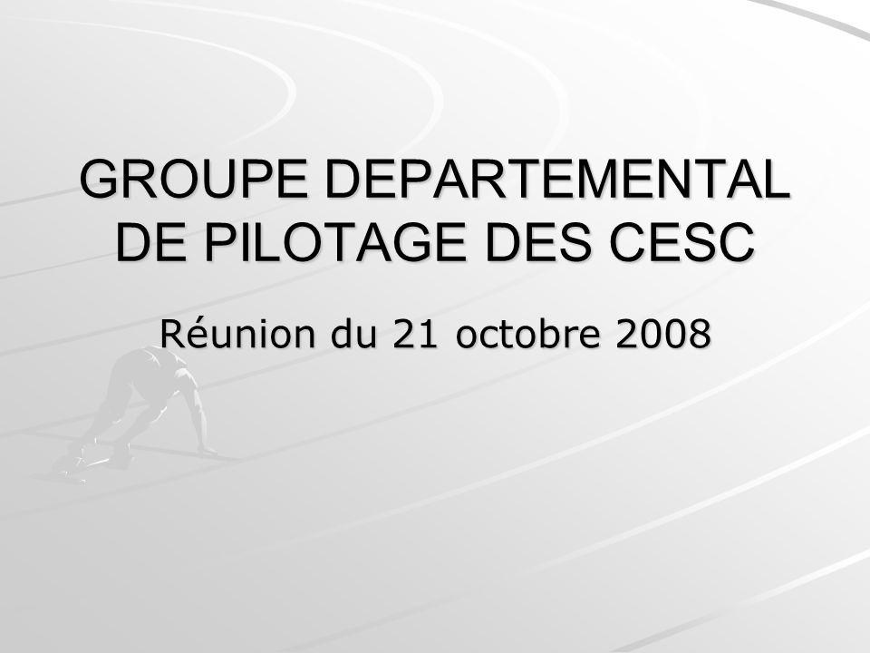 GROUPE DEPARTEMENTAL DE PILOTAGE DES CESC Réunion du 21 octobre 2008