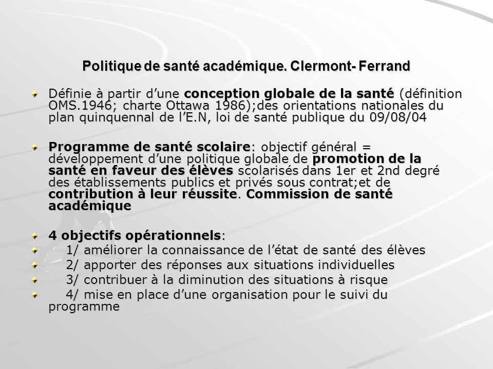 Politique de santé académique. Clermont- Ferrand Définie à partir dune conception globale de la santé (définition OMS.1946; charte Ottawa 1986);des or