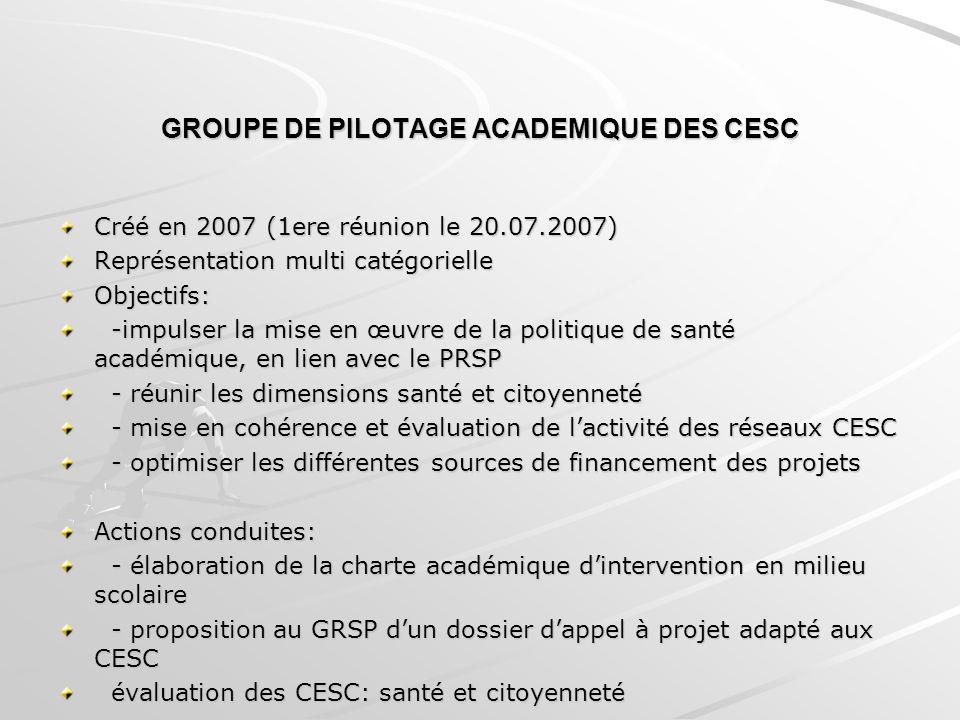 GROUPE DE PILOTAGE ACADEMIQUE DES CESC Créé en 2007 (1ere réunion le 20.07.2007) Représentation multi catégorielle Objectifs: -impulser la mise en œuv