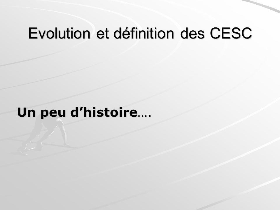Evolution et définition des CESC Un peu dhistoire….