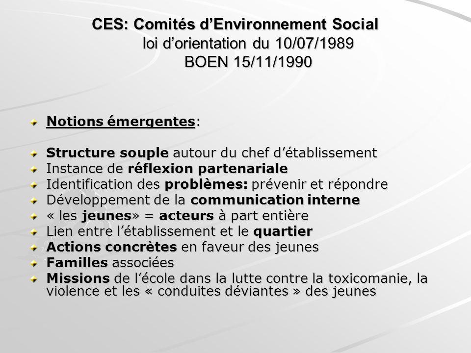 CES: Comités dEnvironnement Social loi dorientation du 10/07/1989 BOEN 15/11/1990 Notions émergentes: Structure souple autour du chef détablissement I