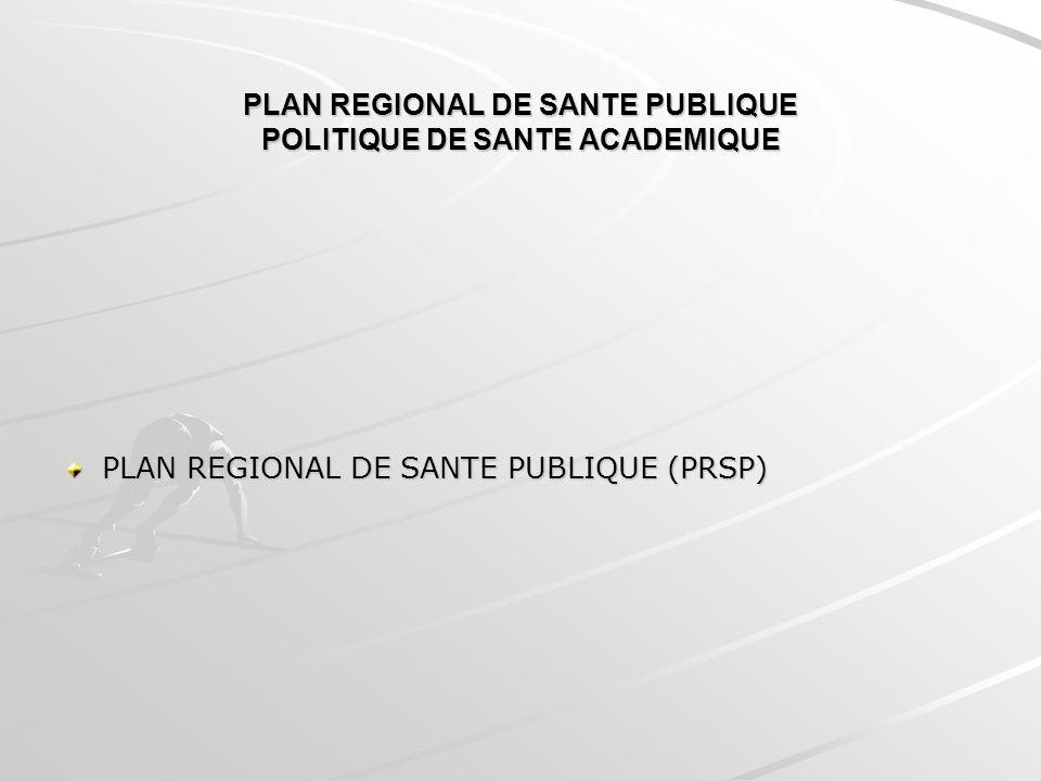 PLAN REGIONAL DE SANTE PUBLIQUE POLITIQUE DE SANTE ACADEMIQUE PLAN REGIONAL DE SANTE PUBLIQUE (PRSP)