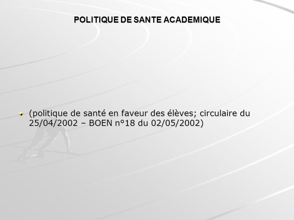 POLITIQUE DE SANTE ACADEMIQUE (politique de santé en faveur des élèves; circulaire du 25/04/2002 – BOEN n°18 du 02/05/2002)