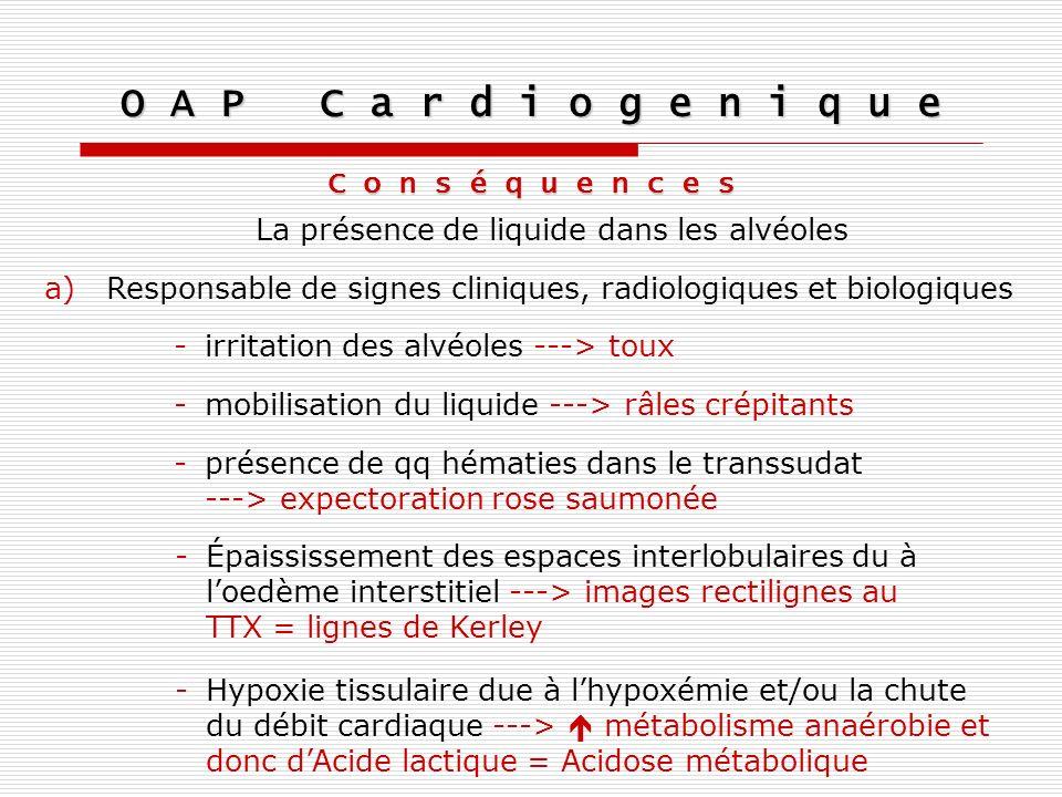 O A P C a r d i o g e n i q u e C o n s é q u e n c e s La présence de liquide dans les alvéoles a)Responsable de signes cliniques, radiologiques et b