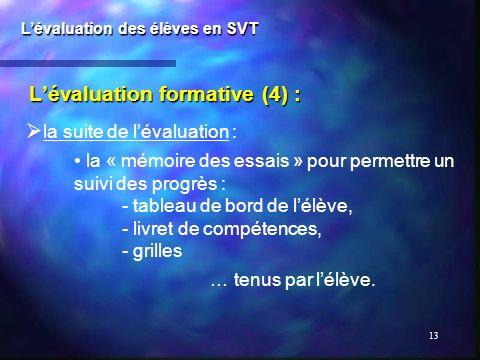 13 Lévaluation formative (4) : Lévaluation des élèves en SVT la suite de lévaluation : la « mémoire des essais » pour permettre un suivi des progrès :