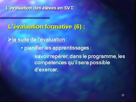 15 Lévaluation formative (6) : Lévaluation des élèves en SVT la suite de lévaluation : planifier les apprentissages : savoir repérer, dans le programm