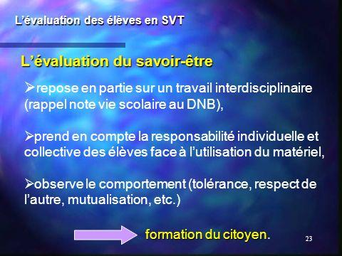 23 Lévaluation du savoir-être Lévaluation des élèves en SVT repose en partie sur un travail interdisciplinaire (rappel note vie scolaire au DNB), pren