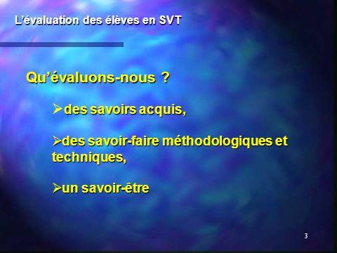 4 Trois temps dévaluation : Lévaluation des élèves en SVT en début des apprentissages : évaluation diagnostique, au cours des apprentissages : évaluation formative ou formatrice, après les apprentissages : évaluation sommative.