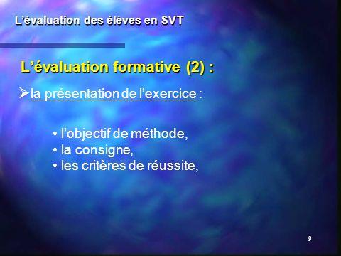 9 Lévaluation formative (2) : Lévaluation des élèves en SVT la présentation de lexercice : lobjectif de méthode, la consigne, les critères de réussite