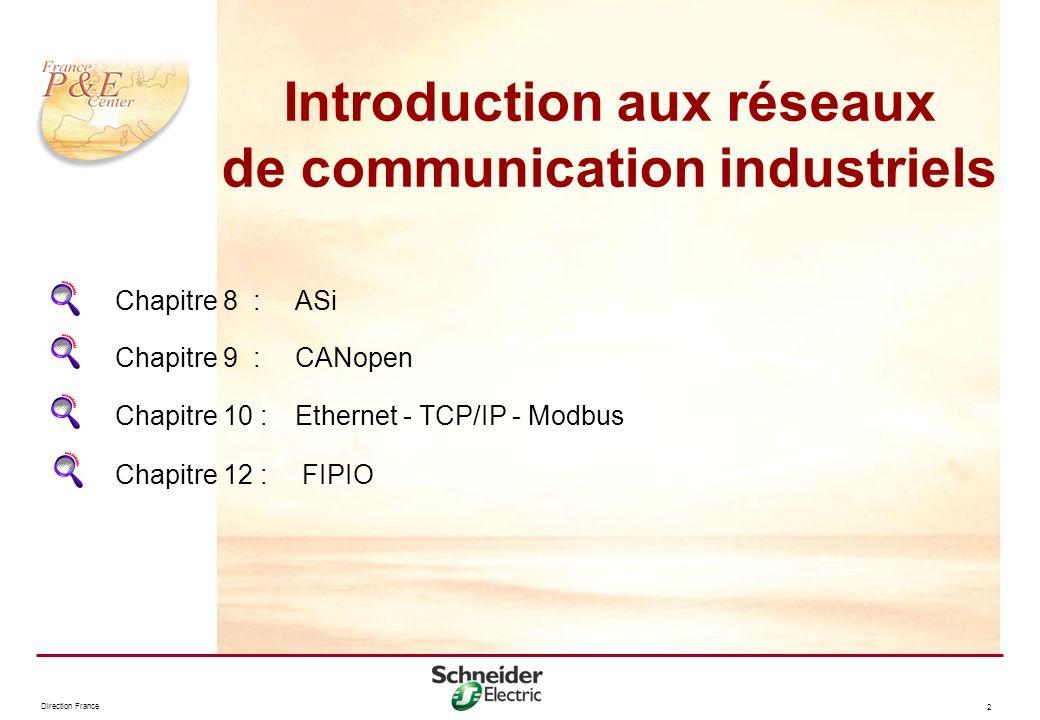 Direction France 2 Chapitre 8 :ASi Chapitre 12 : FIPIO Chapitre 10 : Ethernet - TCP/IP - Modbus Chapitre 9 : CANopen Introduction aux réseaux de commu