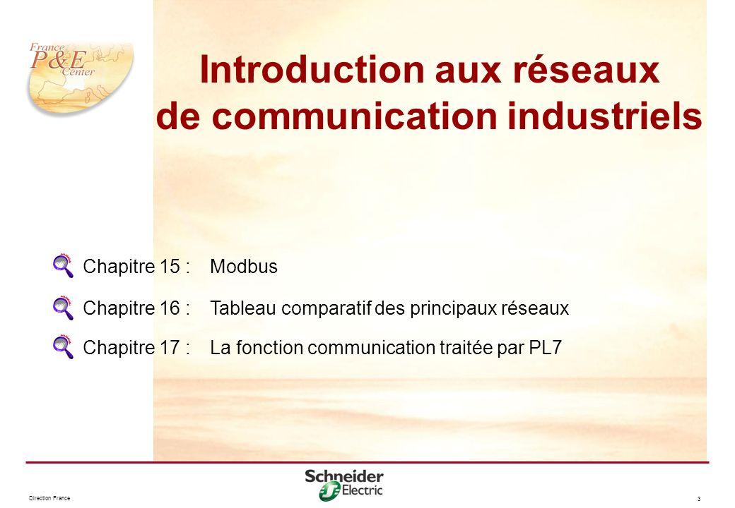 Direction France 3 Chapitre 15 : Modbus Chapitre 16 :Tableau comparatif des principaux réseaux Chapitre 17 : La fonction communication traitée par PL7
