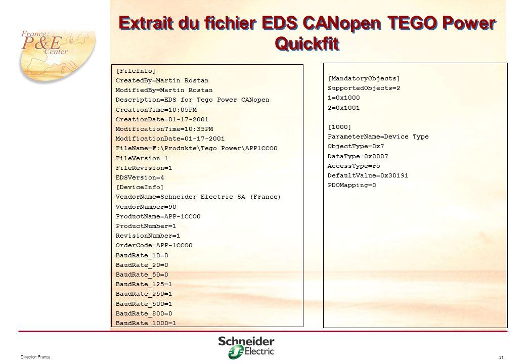 Direction France 31 Extrait du fichier EDS CANopen TEGO Power Quickfit [FileInfo] CreatedBy=Martin Rostan ModifiedBy=Martin Rostan Description=EDS for